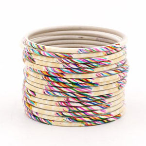 Set of 24 Hand Painted Waterproof Metal Bangles by Leshya