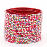 Set of 24 Hand Painted Waterproof Metal Bangles by Leshya (Plus Size)