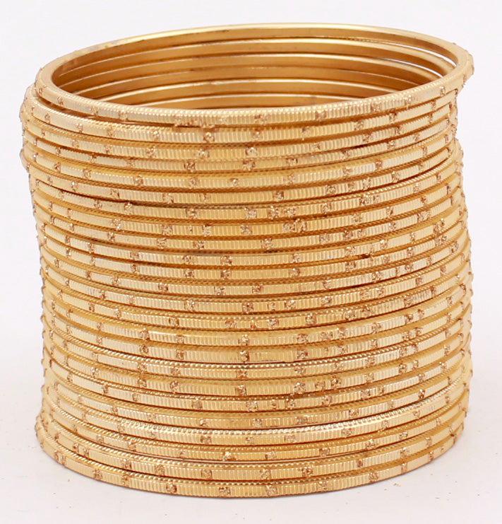 Set of 24 Dual Tone Bangles with Golden Glitter Boondh by Leshya