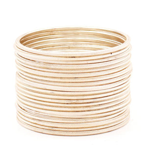 Set of 24 Dual Texture Metal Bangles by Leshya