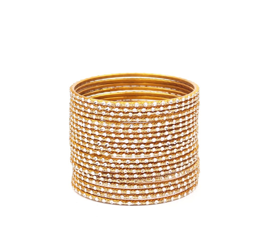 Set of 24 Glitter Metal Bangles with Silver Cutting Design for Mixing by Leshya