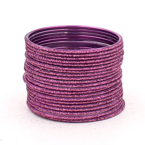 Set of 24 Glitter Bangles in Flat Shape by Leshya