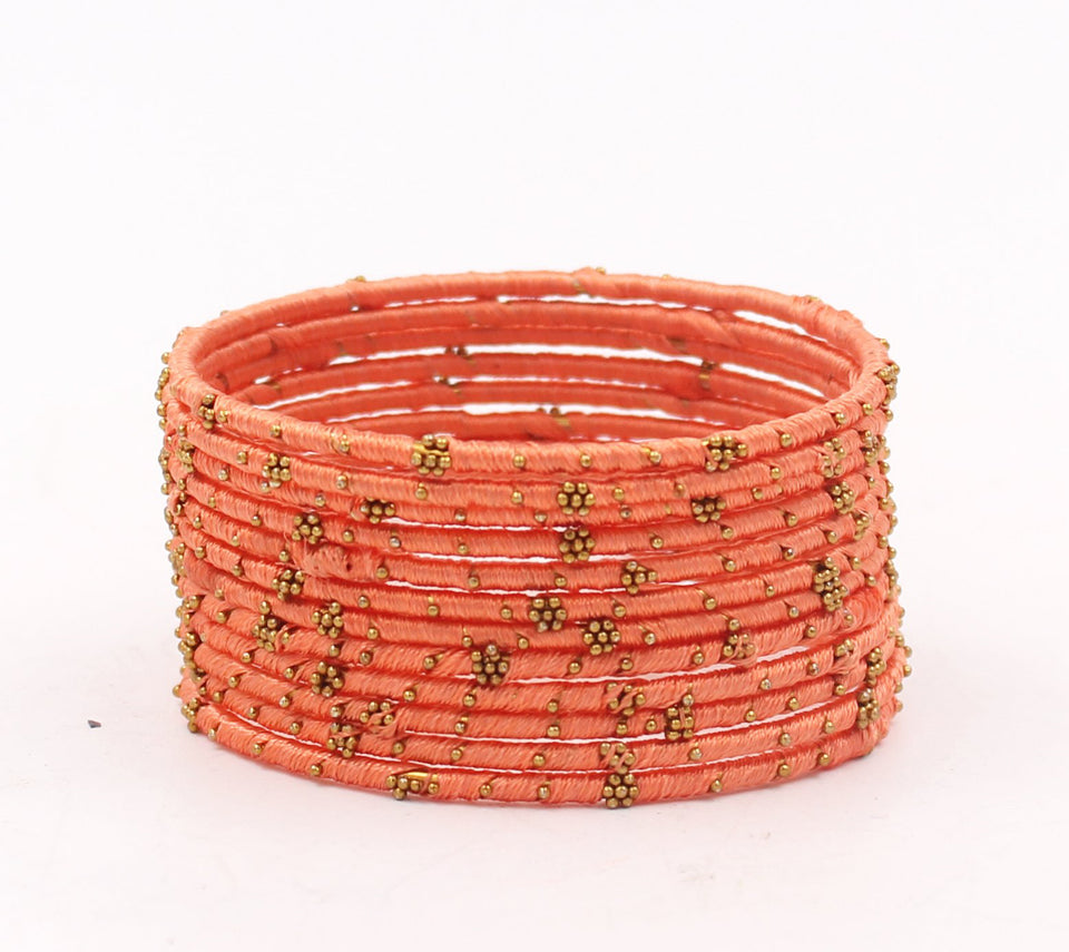 Set of 12 Thread Bangles with Golden Flower Design by Leshya