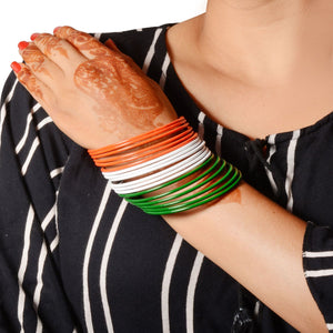 Matte Textured Bangles with Indian Flag set of 18 bangles
