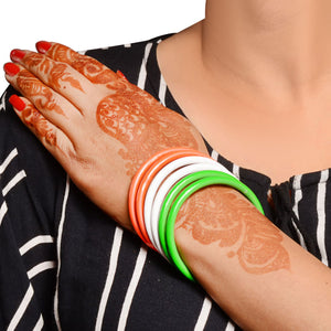 Neon Textured Kadas with Indian Flag set of 18 kadas