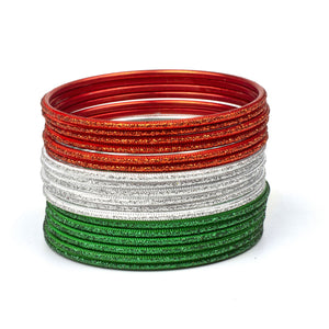 Set of 18 glitter bangles in Tricolor of Indian Flag