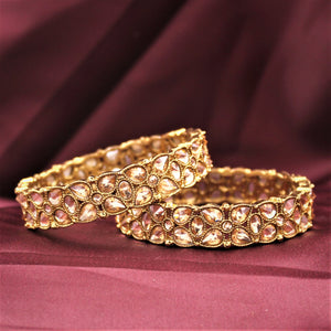 Traditional Antique Gold Bracelet Pair with Running Kundan Stones by Leshya (Plus Size)