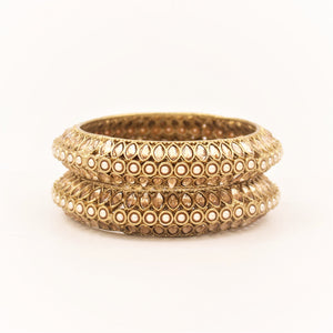 Classic Bracelet Pair with Pearls & Running Kundan in Pacheli style by Leshya