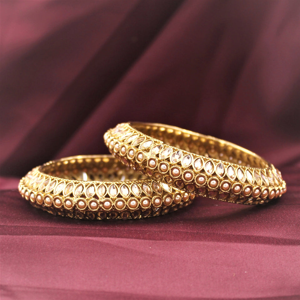 Classic Bracelet Pair with Pearls & Running Kundan in Pacheli style by Leshya (Plus Size)