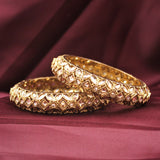 Classic Antique Gold Bracelet Pair with Running Kundan by Leshya (Plus Size)