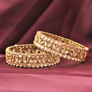 Beautiful Bracelet Pair with Kundan Centre and Side by Leshya (Plus Size)