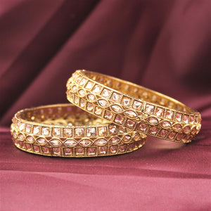 Brass Based Bracelet Pair with Kundan Centre and Side by Leshya