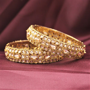 Classic Antique Gold Bracelet Pair with Running Kundan Stones by Leshya (Plus Size)