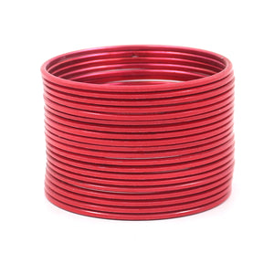 Set of 24 Solid Coloured Plain Metal Bangles by Leshya