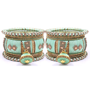 Silk Thread Bangles with Jhumki & Pacheli Bangles by Leshya