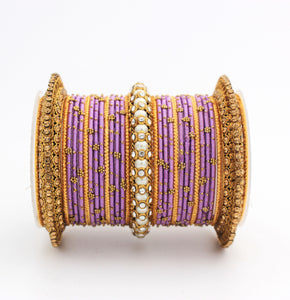Traditional Thread bangle set with Pearl centre kada by Leshya