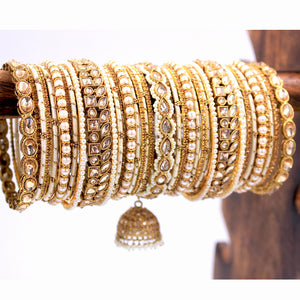 Traditional Ranisa Bangle Set with Kundan Jhumki by Leshya