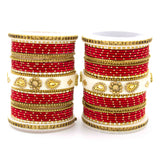 Traditonal Bridal Bangle set with golden dotted design