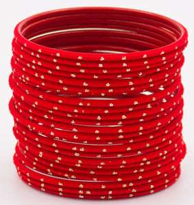 Set of 24 Plain Matte Textured Metal Bangles By Leshya