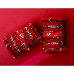 Traditional Velvet Bangle set with Thread Kada for Two Hands