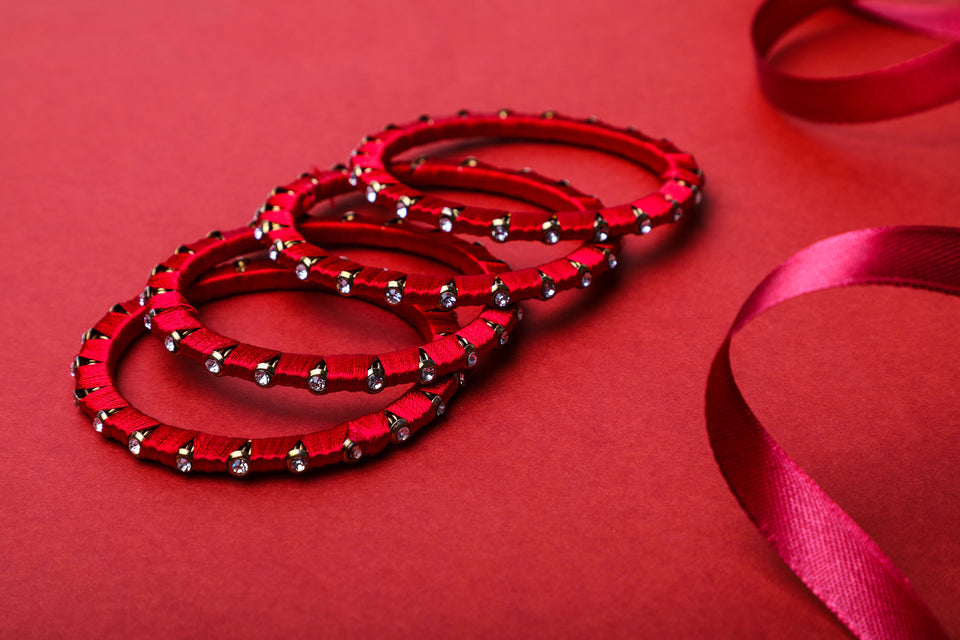 Beautiful Set Of 4 Silk Thread Bangles For Party Wear