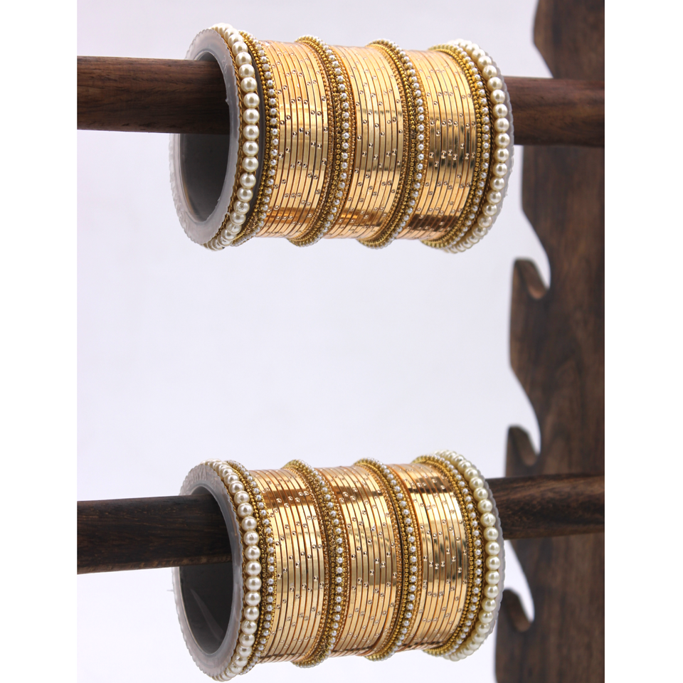 Metal Shining Bangle Set with Pearl Sides by Leshya