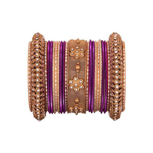 One Hand Multi-Colored Velevet Textured Bangle Set