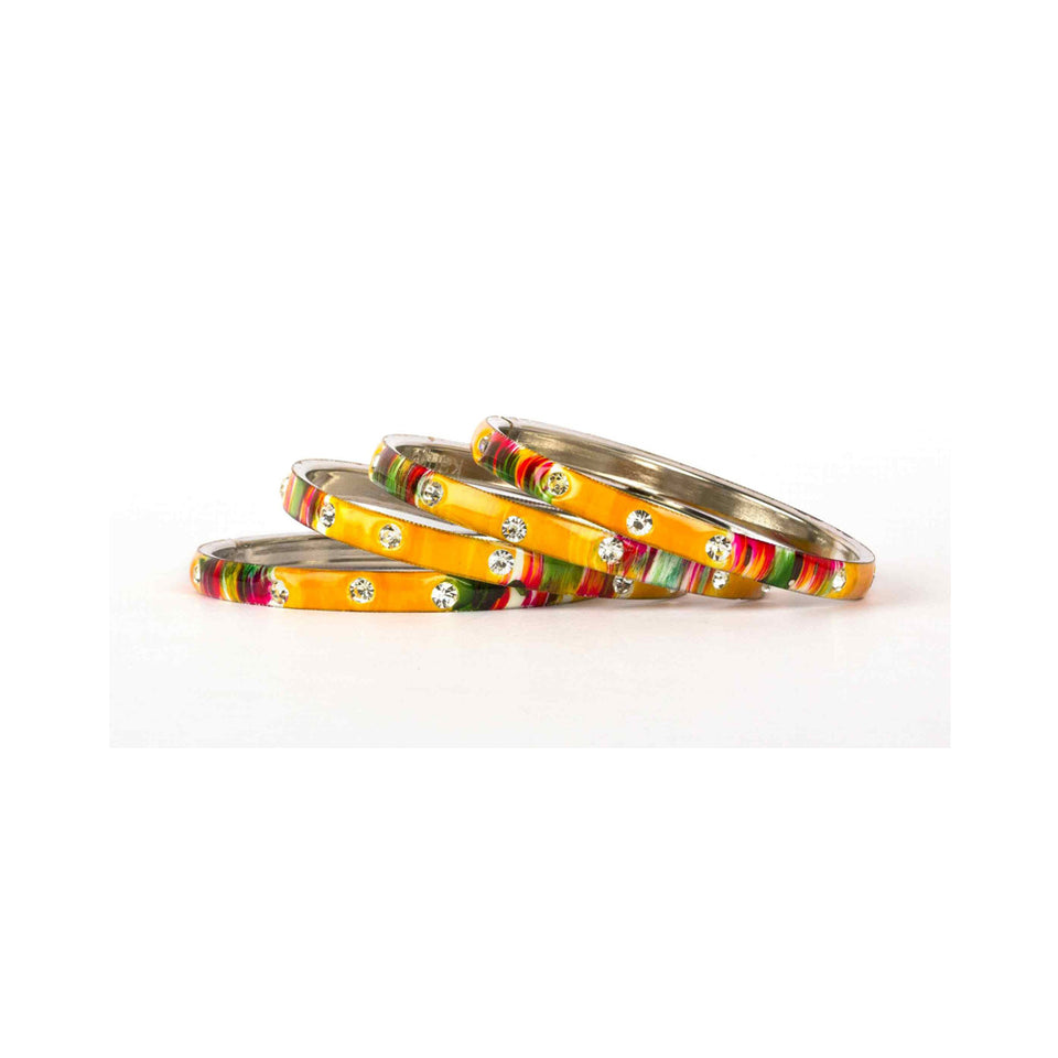 Colored Meenakari Bracelet With Hand Painted Print Design And Running Stones