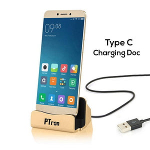 PTron USB Type C Docking Station Charger Dock Socle For All Type C Compatible SmartPhones (Gold)