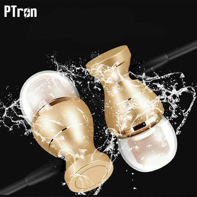 Original PTron Magg United States Best In-Ear Headphone For Alcatel 3C (Gold/Black)