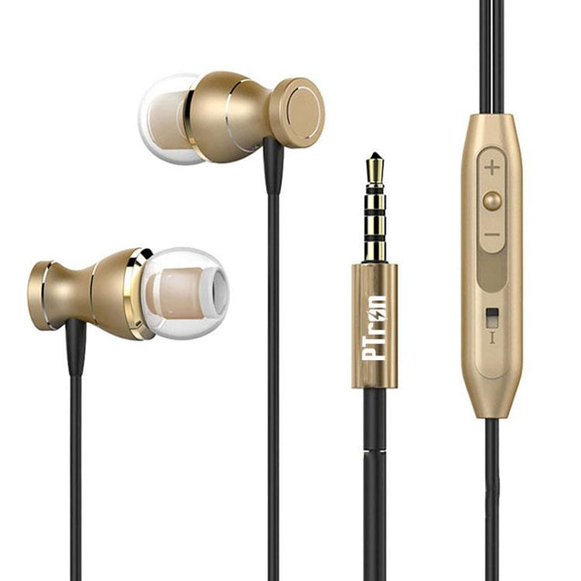 Original PTron Magg United States Best In-Ear Headphone For Xiaomi Redmi 3S (Gold/Black)