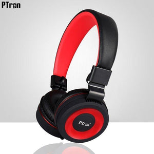 PTron Mamba Stereo Wired Headphone with Mic For All Smartphones (Black/Red)