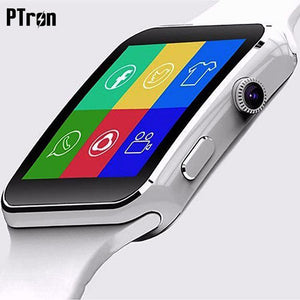 PTron Rhythm Bluetooth Smart Watch With Camera Support SIM Card Pedometer Wrist Watch For All Smartphones (White)