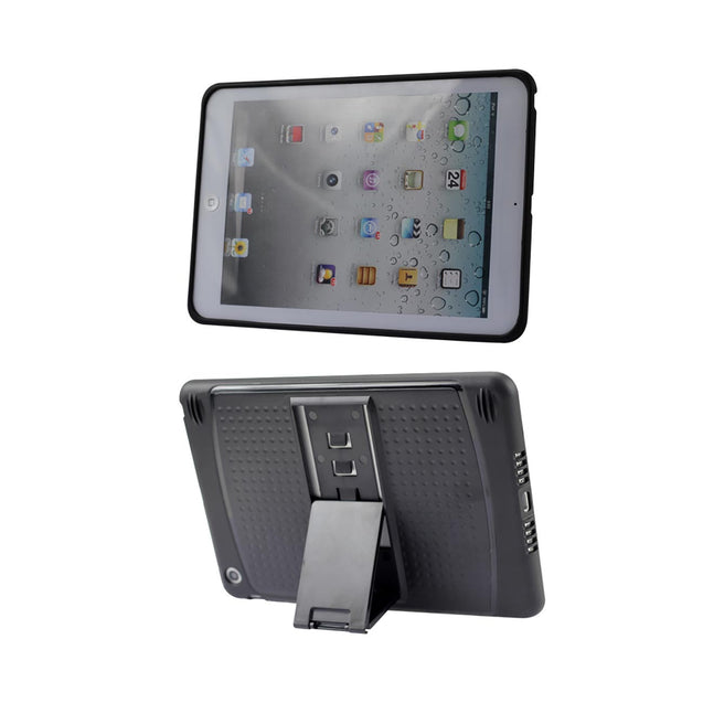 REIKO IPAD MINI HYBRID HEAVY DUTY MESH CASE WITH KICKSTAND IN BLACK