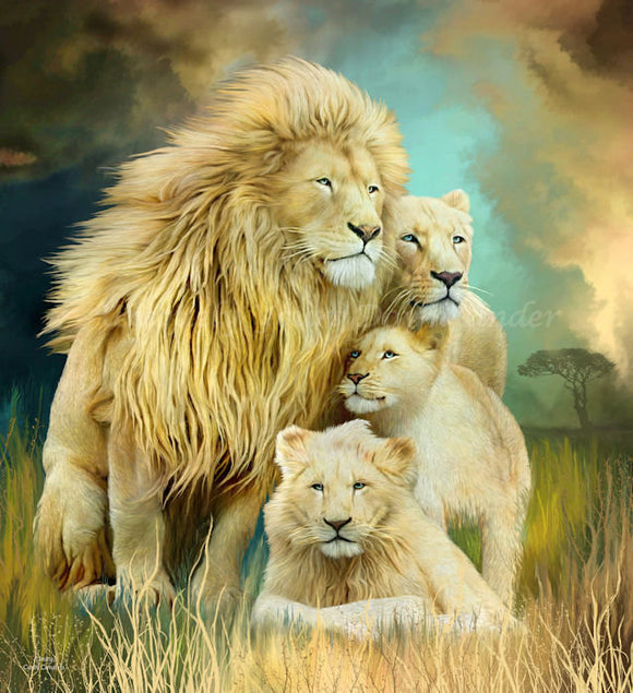 White Lion Family Unity Diamond Painting Kit - Carol Cavalaris