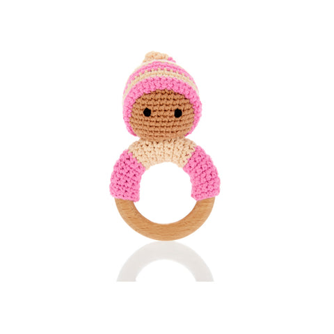 Pink Pixie Wooden Teether Ring Rattle