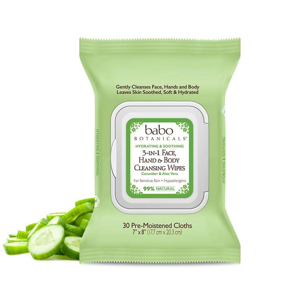 3-in-1 Hydrating Face, Hands & Body Wipes - Cucumber & Aloe Vera