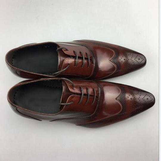 Italian Style Men Formal Lace Up Brogue Shoes With Wingtip Detail