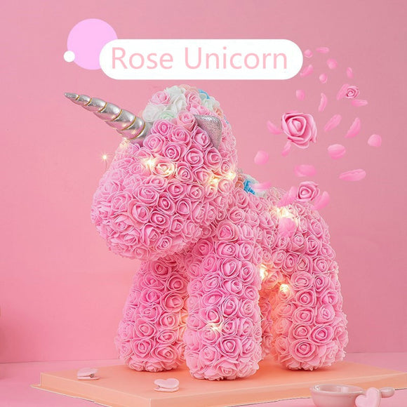 LuxeFrog Unicorn and Teddy Bear Rose Gift