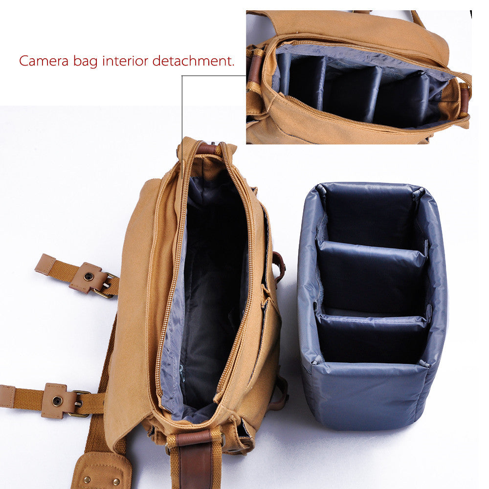 khaki canvas camera case