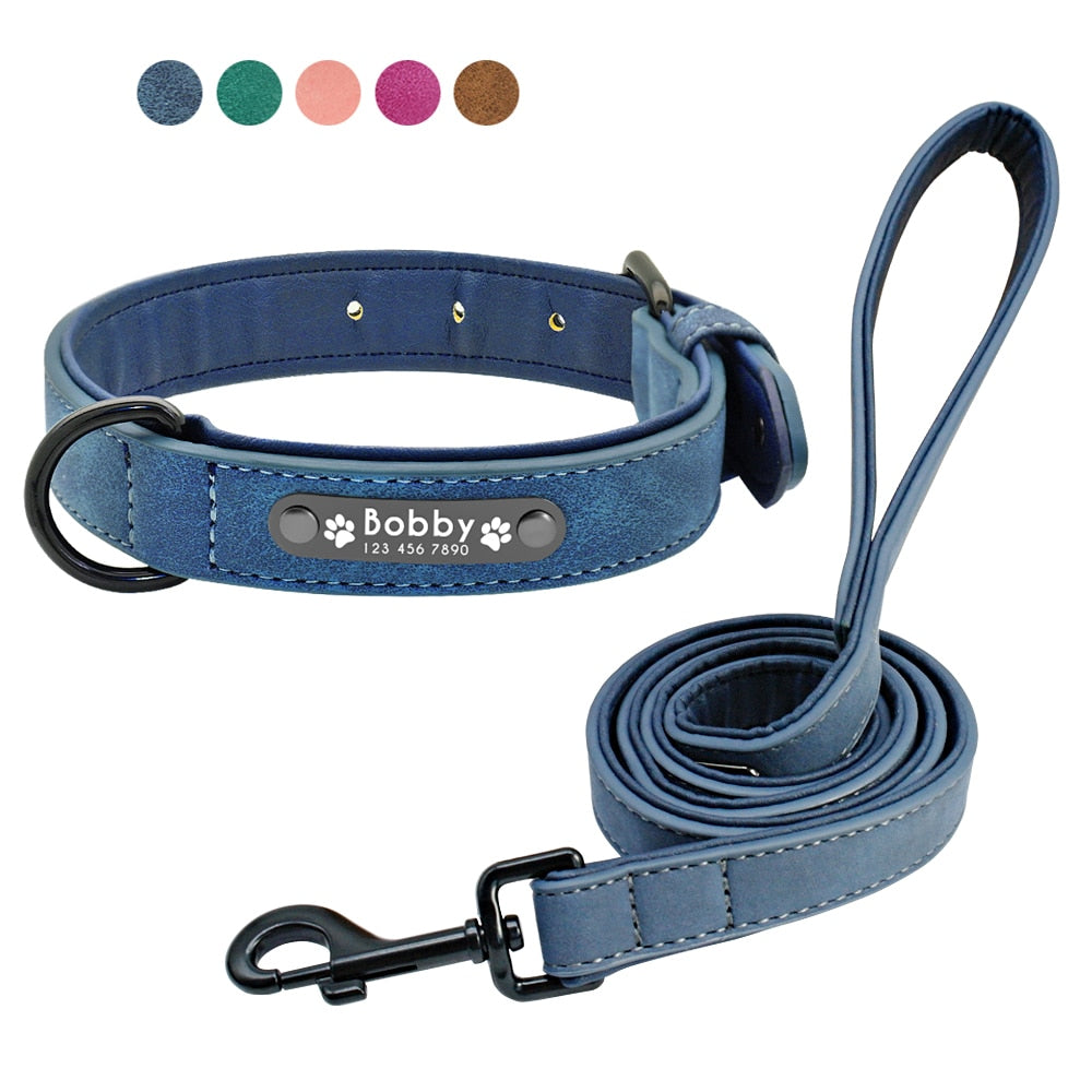 LuxeFrog - Custom Dog Collars and Leash Set with Personalized ID Tag