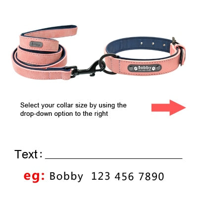personalized leather dog collars and leash set with ID tag
