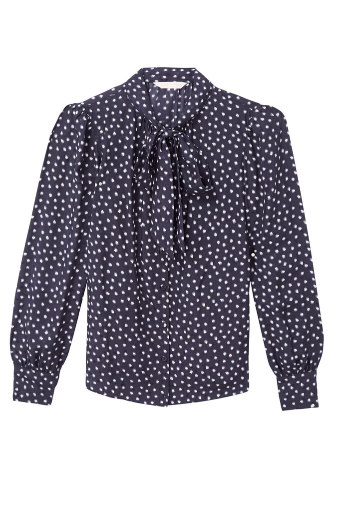 Long Sleeve Blurry Heart Top in Navy
