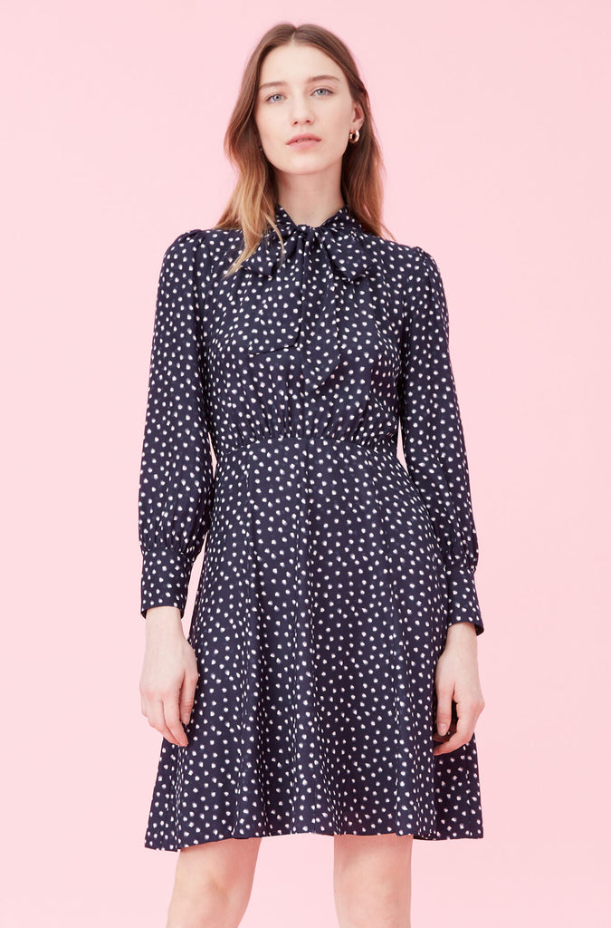 Long Sleeve Blurry Heart Dress in Navy