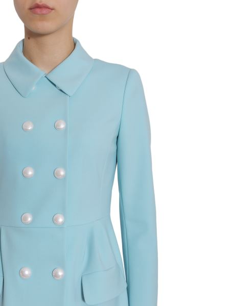 Double Breasted Coat with Pearl Buttons in Azzurro