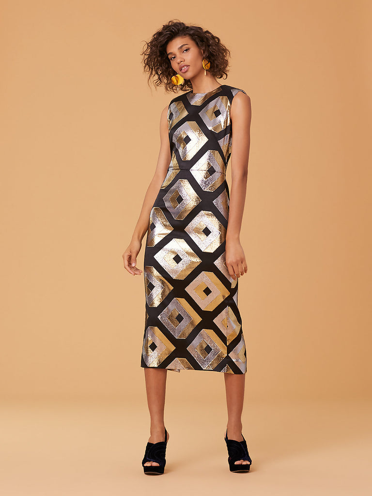 Metallic Cube Sheath Dress