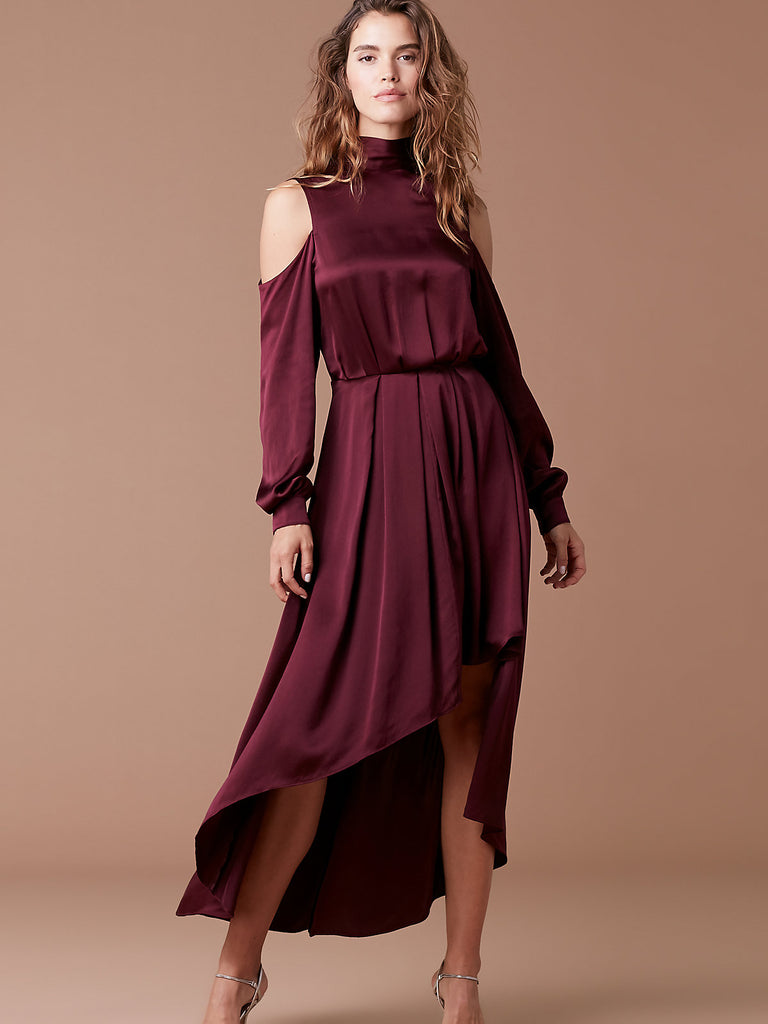 High Low Mock Neck Gown in Burgundy