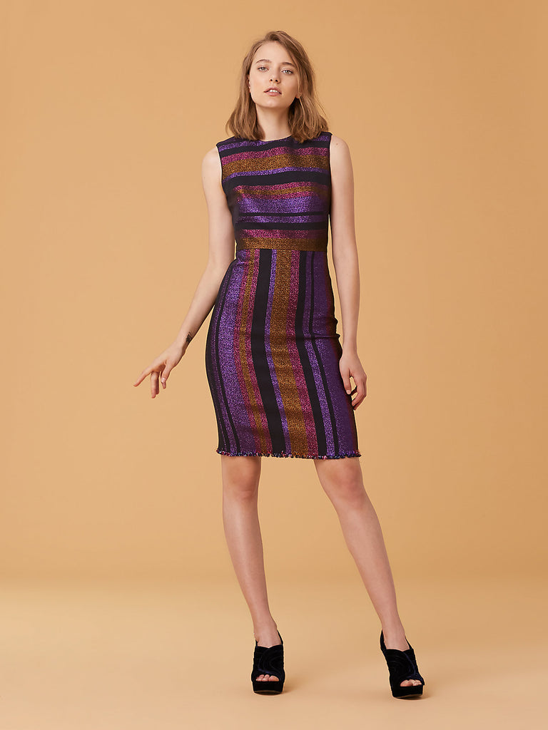 Metallic Stripe Sheath Dress in Black Multi