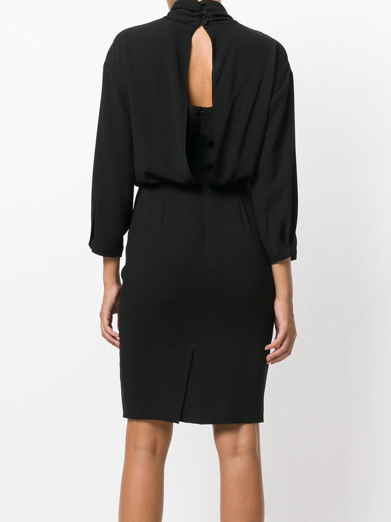 High Neck Split Back Dress in Black