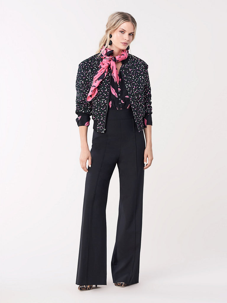 June Wide-Leg Jumpsuit In Black/ Falling Lips